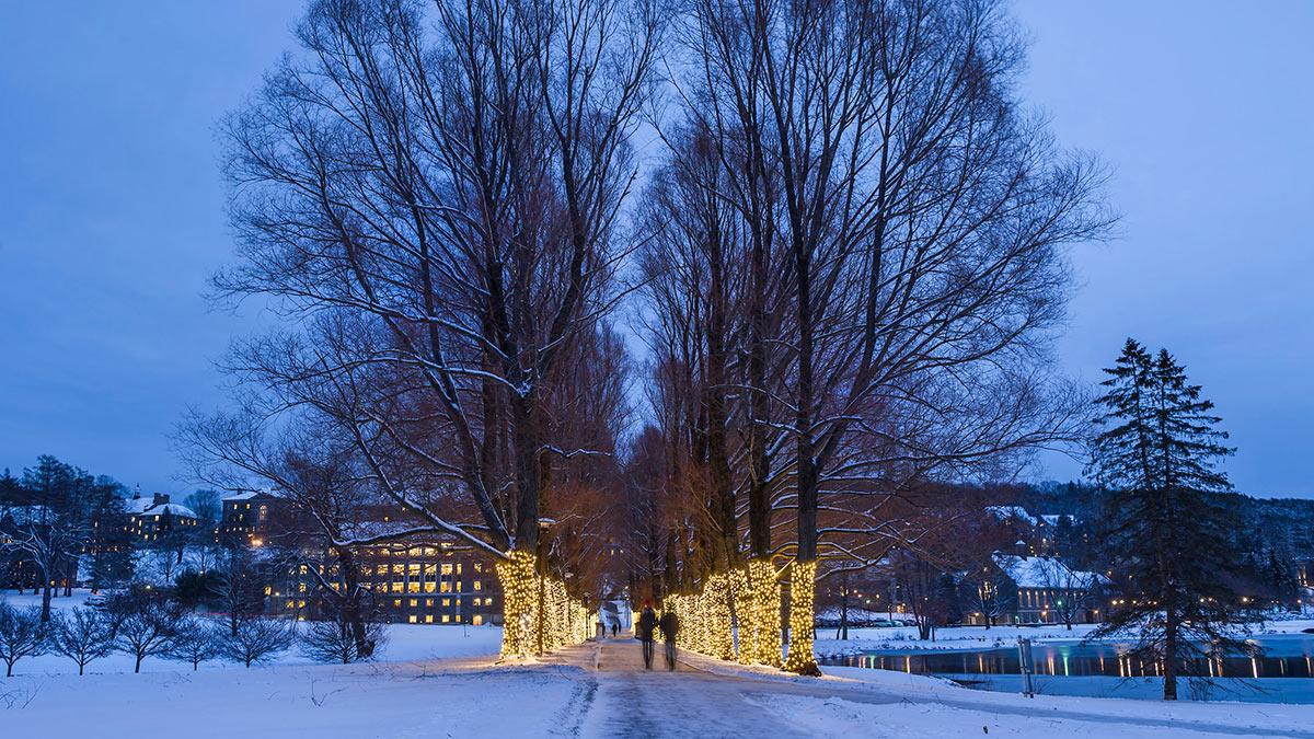 Winter scene on Colgate campus