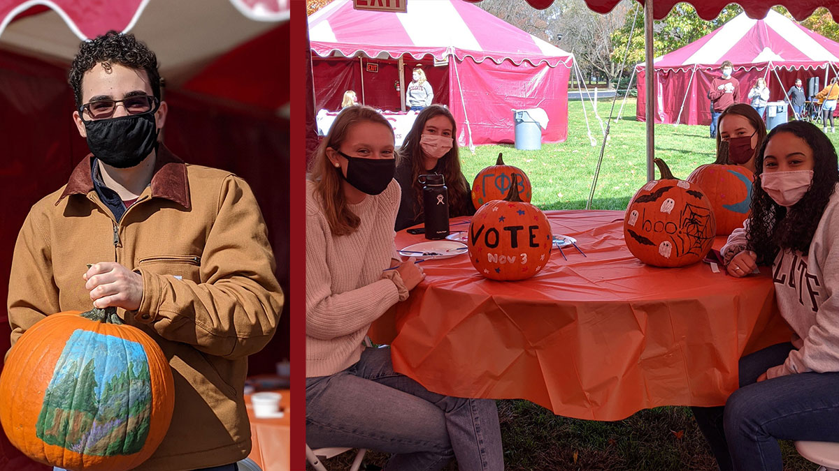 Collage of students decorating pumpkins