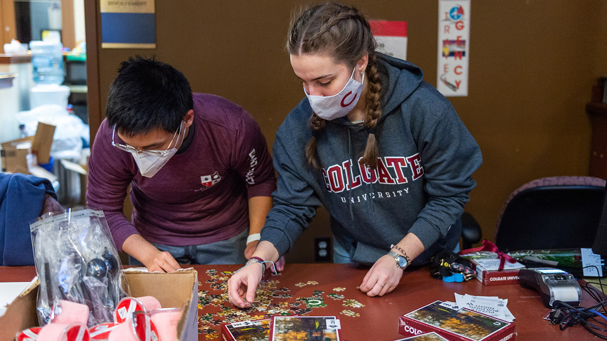 students working on a puzzle