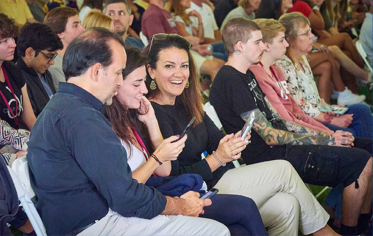 Parents at a Family Weekend event.