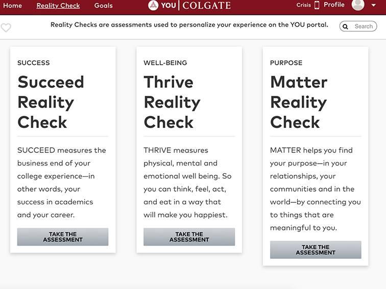 Screenshot from YOU@Colgate portal